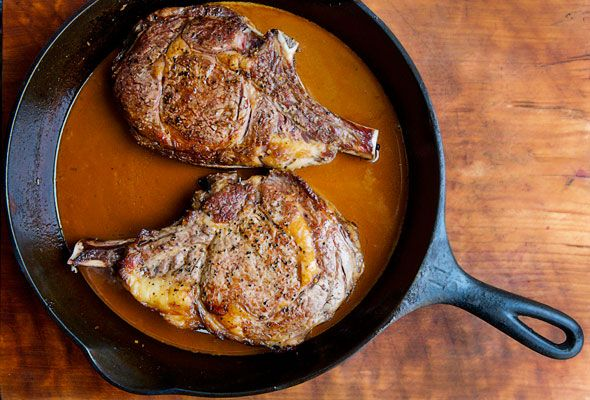 Seared Cowboy Steaks with Guinness Sauce. Stop what you're doing, go the grocery store, get the necessary ingredients and make this tonight. It is a showstopper. We made 2 steaks and split it between 5 of us - then had steak and eggs this morning! The sauce is diviiiine.