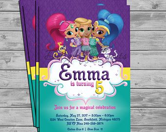 Shimmer And Shine Birthday Or Baby Shower Invitations Shimmer