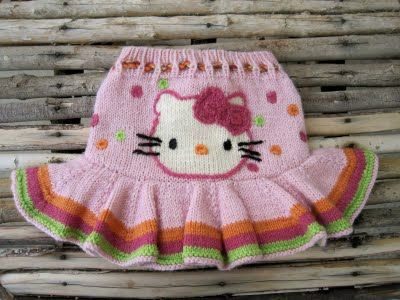 knitted Hello Kitty skirt, I'm not good at knitting but I bet it wouldn't be too difficult to crochet
