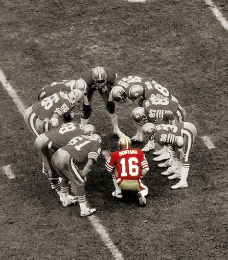 Joe Montana, the great San Francisco 49ers quarterback, stands out in a crowd!