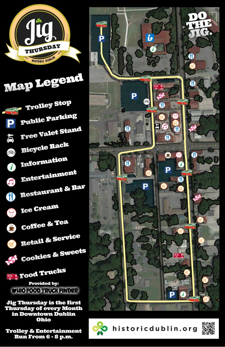 Map of whats happening during Jig Thursday Dublin map