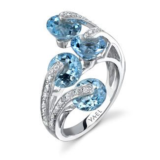 Blue topaz and diamond ring set in white gold | YAEL Designs
