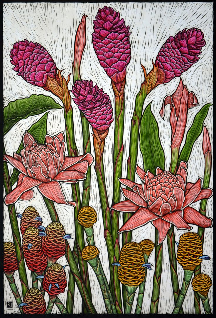 Rachel Newling - Tropical Gingers (Linocut)