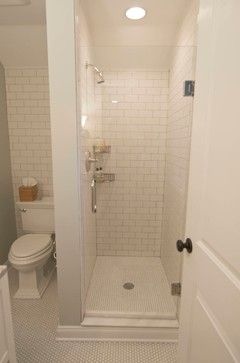 tglass shower inclosure and shower head on the opposite wall raditional small bathroom bathroom design ideas pictures remodel and decor - Small Shower Design Ideas