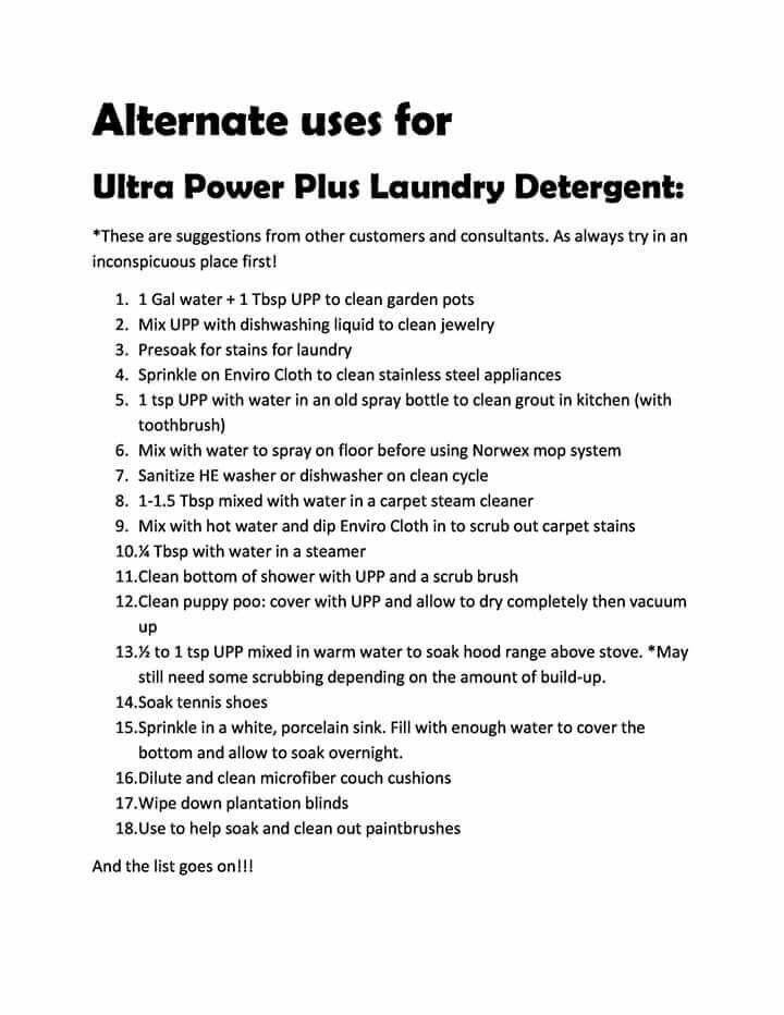 Norwex Ultra Power Plus Laundry Soap (Upp)  alternate uses
