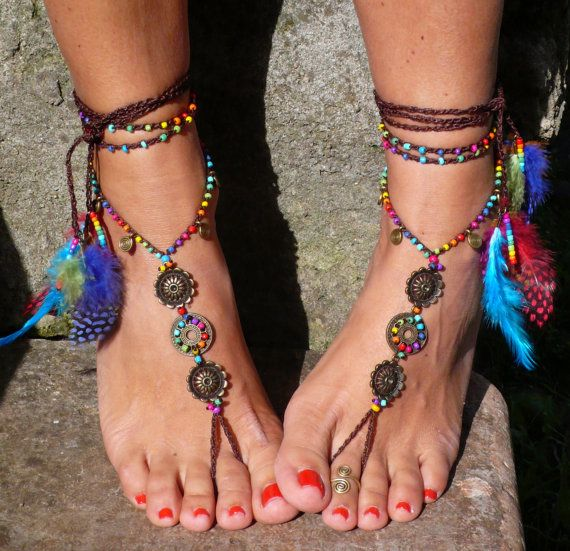 Rainbow MANDALA BAREFOOT SANDALS foot jewelry by PanoParaTanto