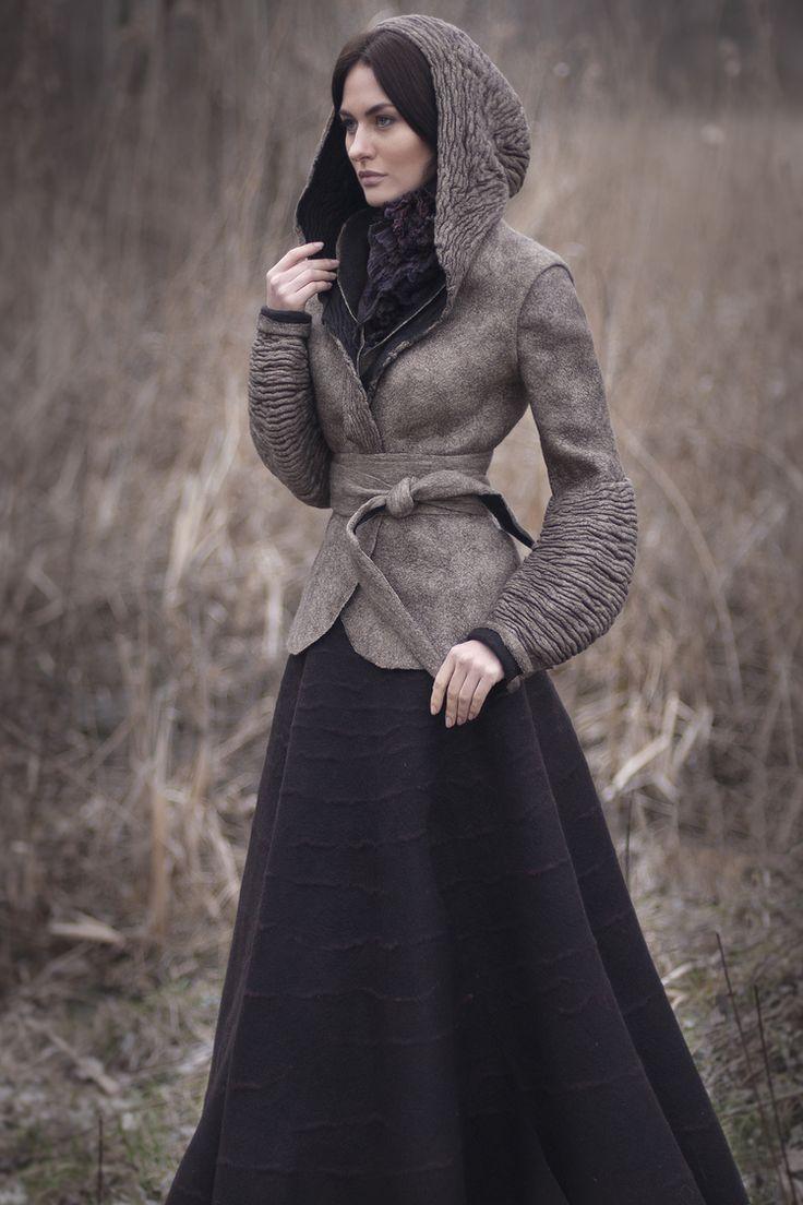 Felt hooded jacket by Diane Nagorna, textile artist