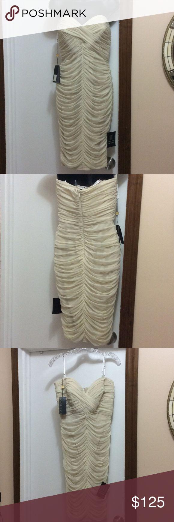 Tadashi Shoji cream strapless dress Gorgeous cream strapless dress with rushing from the bodice to the hem. NWT never worn. Tadashi Shoji Dresses Strapless