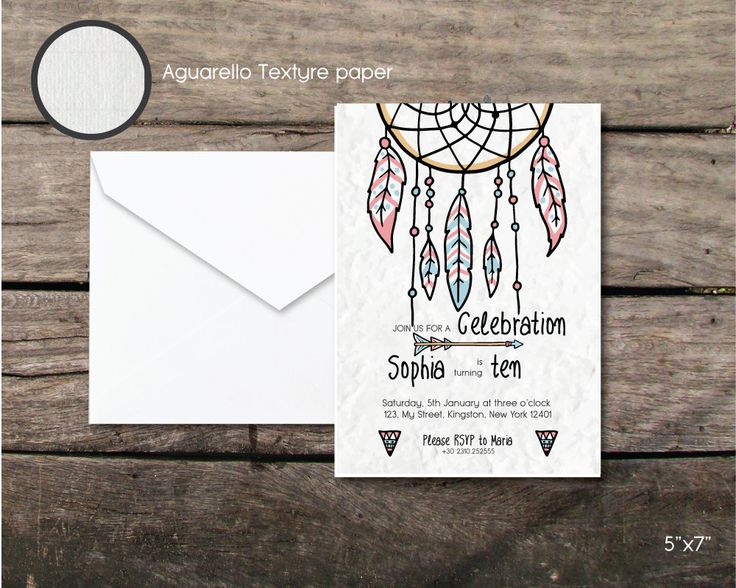 """Printable and printed birthday party invitation """"boho dreamcatcher invitation"""", ten birthday girl, paper and party supplies, thank you card by BeePrintDesigns on Etsy"""
