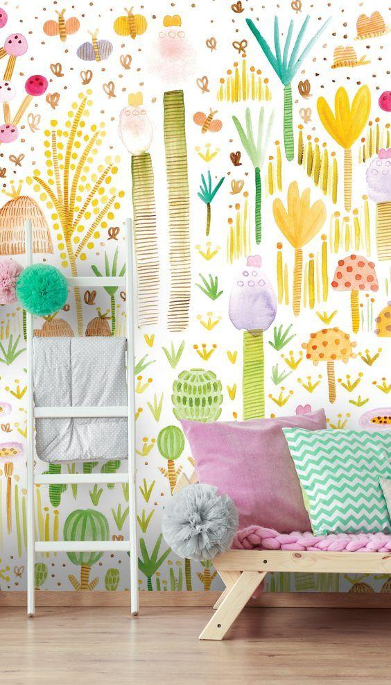 Cacti And Fungi Garden Wallpaper Wallsauce Uk Printable Art Wall Decor Playroom Mural Interior Wall Design