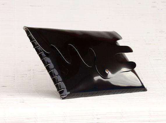 Womens handmade handbag Elegant glossy black evening clutch Vegan handbag Black ecofriendly vinyl handbag  Large unique laptop handbag purse