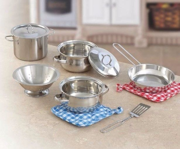 http://www.shopplaypens.co.za/product/10-pc-stainless-steel-set/What's cookin' today? Fun with realistic mini cookware!• Sized for small hands, this high-quality stainless steel set offers endless potential for make-believe culinary fun• The classic pots and pans will last through years of energetic play• 10 piece set includes stock pot and 2 large pots with interchangeable lids, sauce pan, colander, spatula and two pot holders• Dishwasher safe