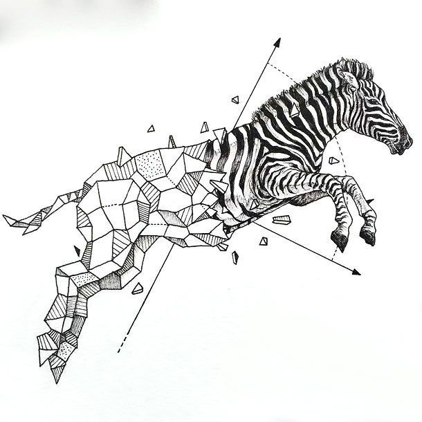 Geometric Zebra Tattoo Design