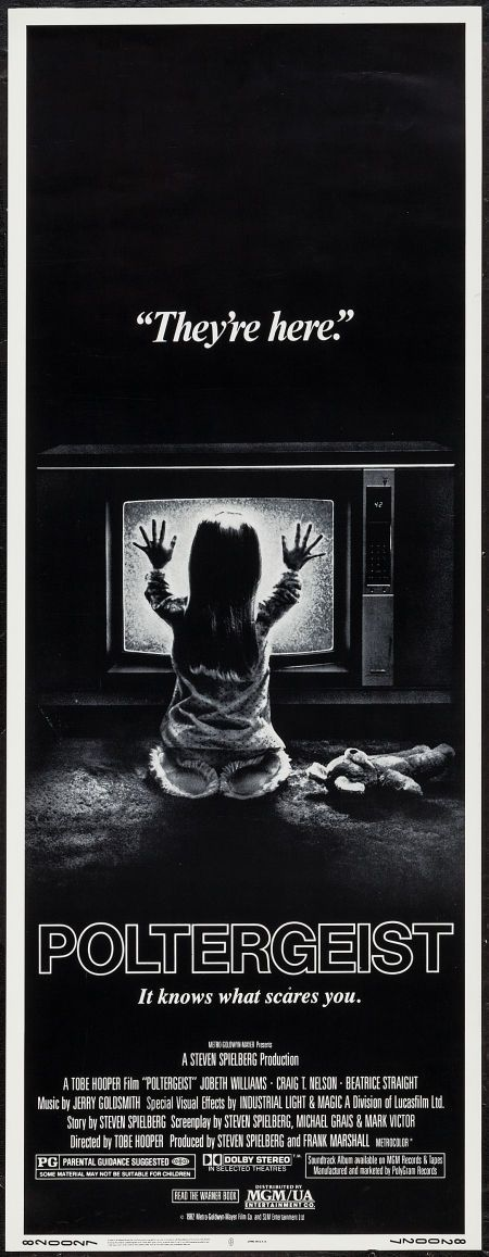"Poltergeist (MGM/UA, 1982). Insert (14"" X 36""). Horror. Starring JoBeth Williams, Craig T. Nelson, Beatrice Straight, Dominique Dunne, Oliver Robins, Heather O'Rourke, Michael McManus, Virginia Kiser, Martin Casella, Richard Lawson, Zelda Rubinstein, Lou Perryman, Clair E. Leucart, James Karen, Dirk Blocker, and Allan Graf. Directed by Tobe Hooper."