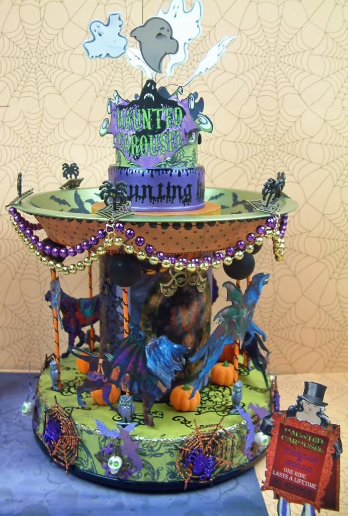 Ride the Haunted Carousel.  But once you get on you can never get off.  And yes it does spin.   Artfully Musing: HALLOWEEN CARNIVAL EVENT – IS HERE!!! Join me on my blog for free video tutorials showing you how to create pieces for a Halloween Carnival, giveaways, and free images.