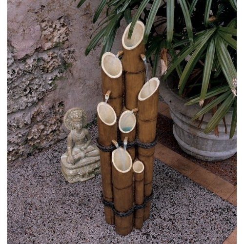 floor water fountains Add a beautiful centerpiece to your garden doble raising basine and enjoyment this caller. www.fountaincellar.com Use bamboo an solar lights inserted in the stalks.