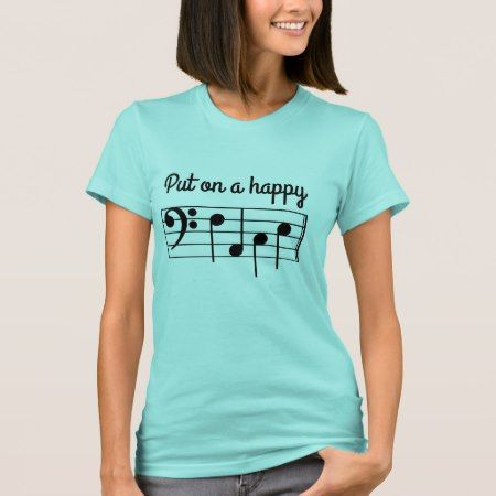 Put on a Happy face Bass Clef Music Notes F-A-C-E T-Shirt - tap to personalize and get yours