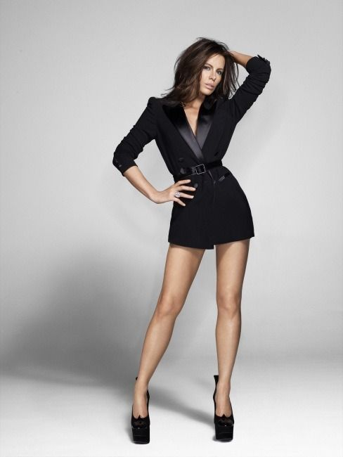 Kate Beckinsale long legs in a tuxedo jacket and towering ...