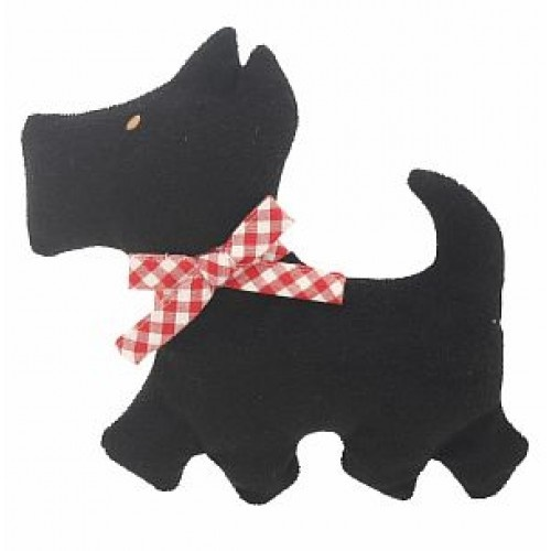 Alimrose Designs - This adorable soft dog rattle is as fun as he is to rattle. A bright black with a red bow to mesmerize any baby and a soft texture to feel. Shake him and he rattles. A perfect gift together with Scotty dog squeaker and Scotty dog bib.   Just a must-have!