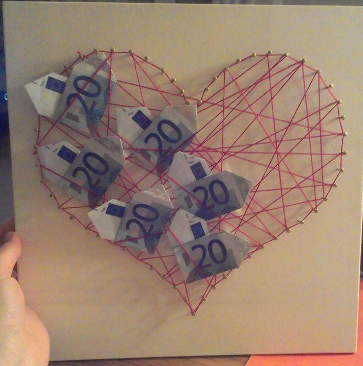 Geldgeschenk, Hochzeit, Präsent, wedding gift, heart, money, string art,