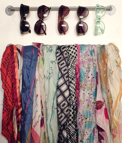 Use A Small Towel Rack to store sunglasses and scarves