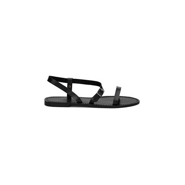Yoins Black Pin Buckle Strap Open Toe Simple Slip-on Style Sandals ($33) ❤ liked on Polyvore featuring shoes, sandals, slide sandals, kohl shoes, open toe sandals, open toe shoes and black open toe sandals