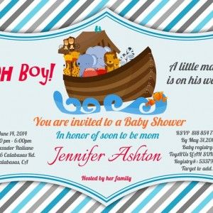15 best baby shower invitations boys images on pinterest baby boy noahs ark shower invitation with blue stripes background each invitation measures or totally customizable wording filmwisefo