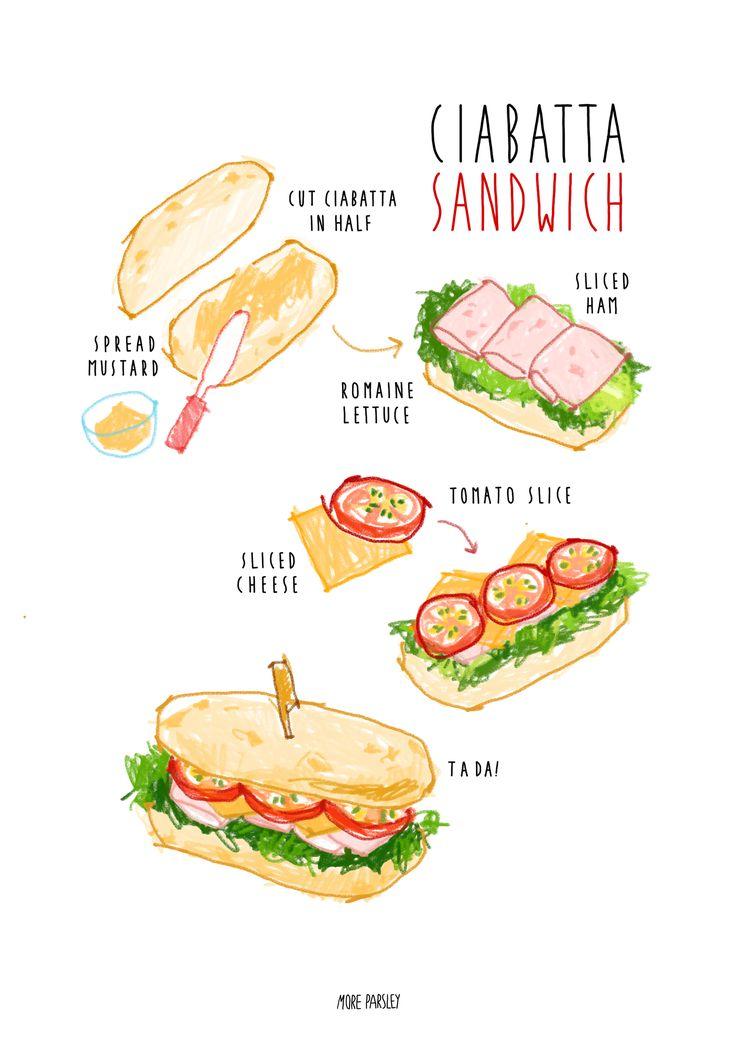 homemade ciabatta sandwich recipe illustration   instagram @moreparsley_ heavenkim.com/