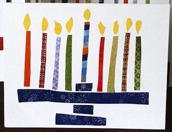 This #menorah is made with cardstock scraps. You could also use fabric to make the #Hanukkah candles.