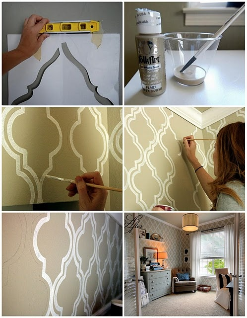 Love this idea - but do I have the patience? Hand-painted 'wallpaper.'