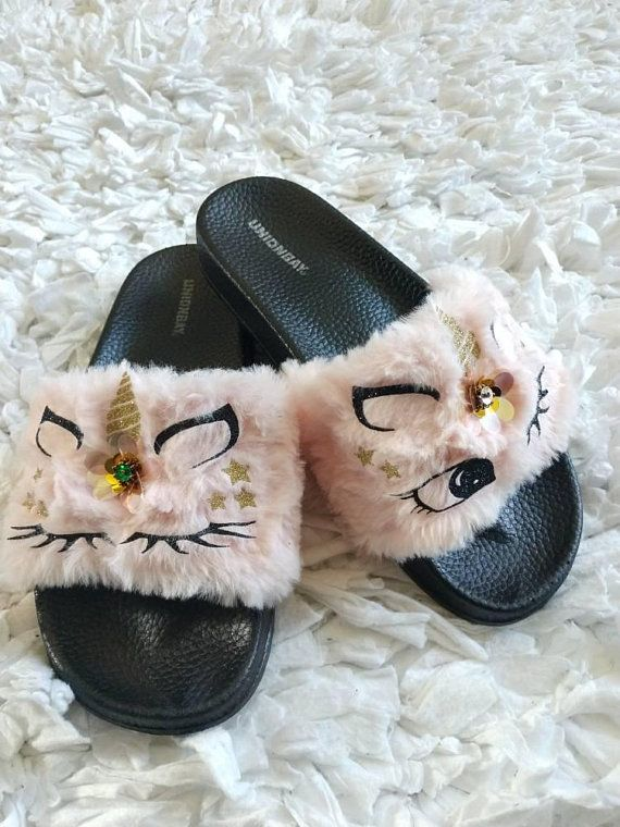 Pink Unicorn Slippers For Women Women Fur Slides Unicorn Etsy Unicorn Slippers Pink Slippers Fluffy Shoes