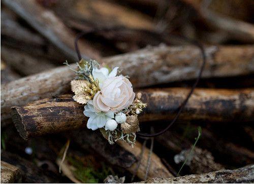 """Květinová čelenka na gumičce \""""zlatá laň\"""""""
