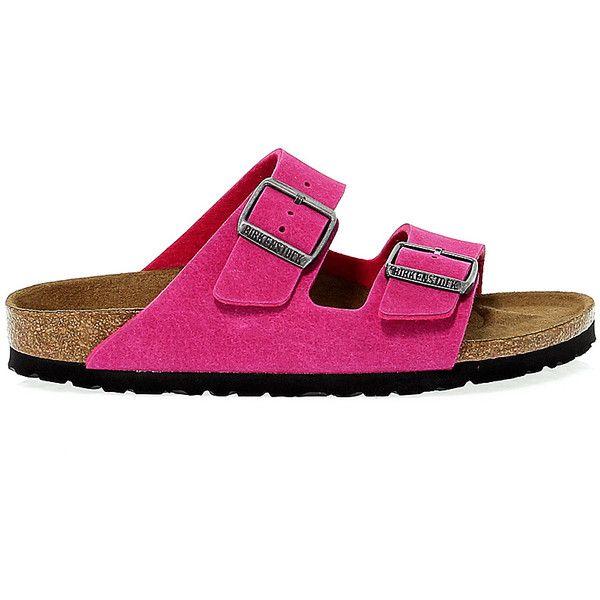 Birkenstock Flat Sandals ($83) ❤ liked on Polyvore featuring shoes, sandals, pink flat sandals, flat sandals, birkenstock, vegan shoes and rubber sole shoes