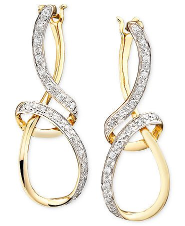 Diamond Earrings, 14k Gold Diamond Ribbon (1/10 ct. t.w.)