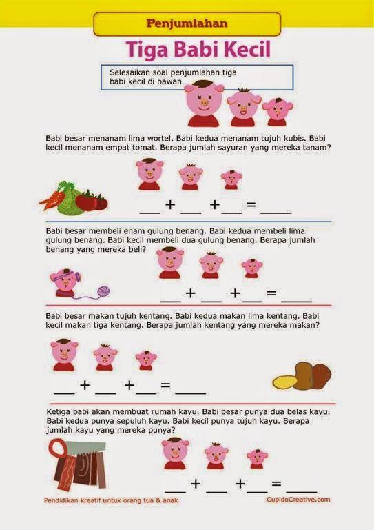 Belajar Anak Penjumlahan Bersama Tiga Babi Kecil