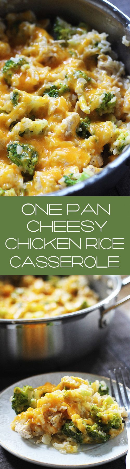 This One Pan Cheesy Chicken Broccoli Rice Casserole can be thrown together in minutes, with minimal ingredients needed!