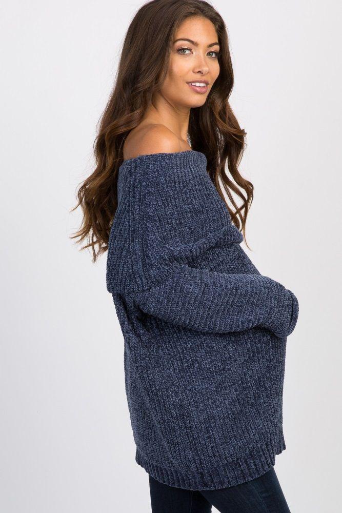 2b95da67875 Rust Chenille Knit Off Shoulder Maternity Sweater
