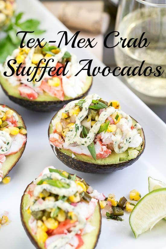 Tex-Mex King Crab Stuffed Avocados {with Lime-Cilantro-Sriracha Crema}