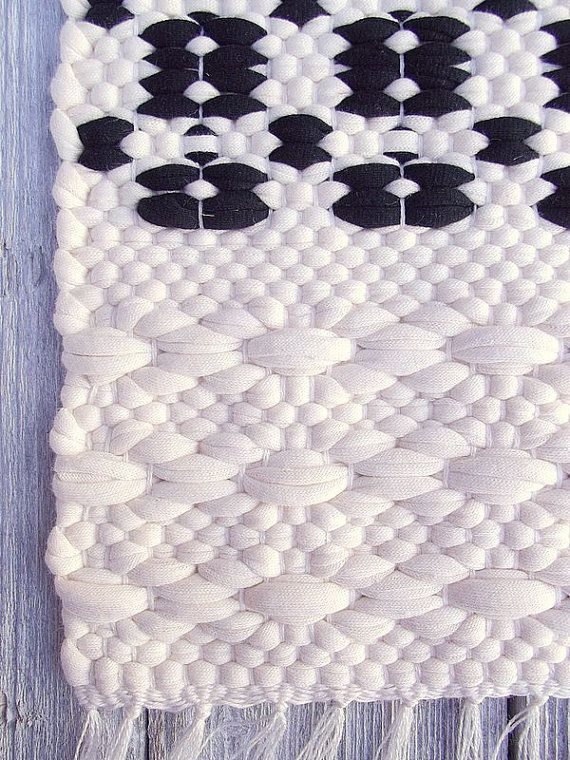 Black and white cotton rug handmade soft and thick by leedas