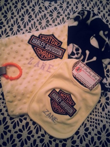 198 best personalized baby gifts images on pinterest machine harley davidson personalized appliqued security blanket and bib set sockmonkeyshop childrens on artfire negle Images