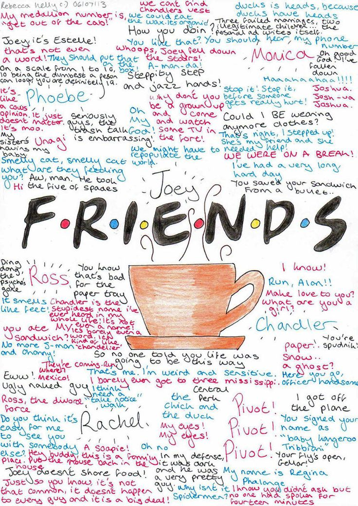 It's the show we quote from the most...we will ALWAYS be fans! F.R.I.E.N.D.S Quotes and Memories by ~becksbeck on deviantART