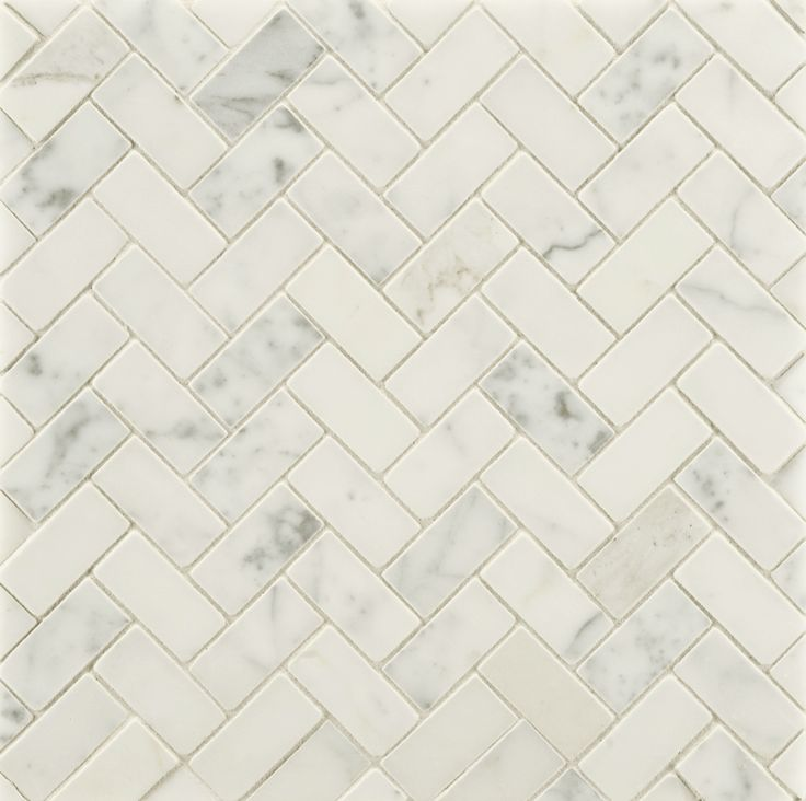 ANN SACKS Statuary Classic large herringbone marble mosaic in honed finish