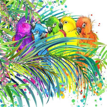 Скачать - Тропический экзотический лес, зеленые листья, дикая природа, тропических птиц Попугай, акварель иллюстрации. акварель фон необычная экзотическая природа — стоковое изображение #76919847