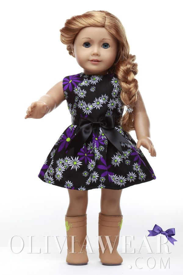 American Girl Clothes Collection #62 Black, Purple and White FlowersPattern Dress