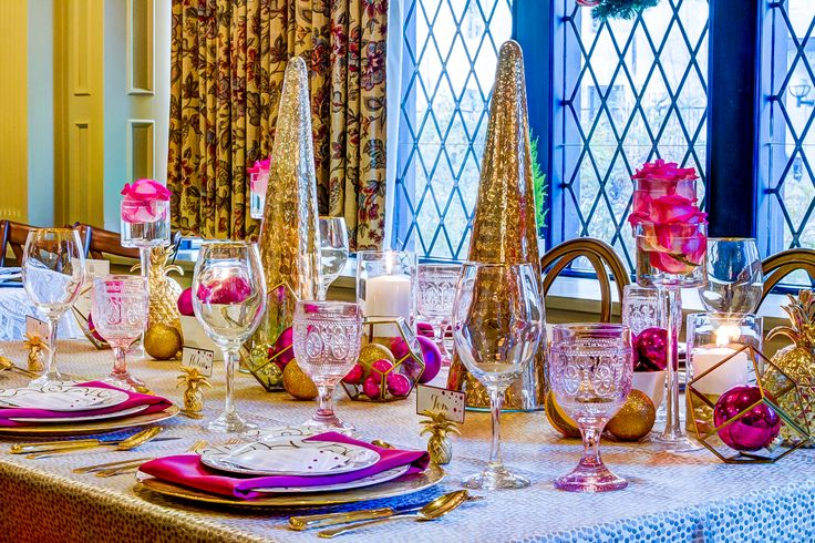 We used some lovely pink goblets to make this holiday table sparkle!!