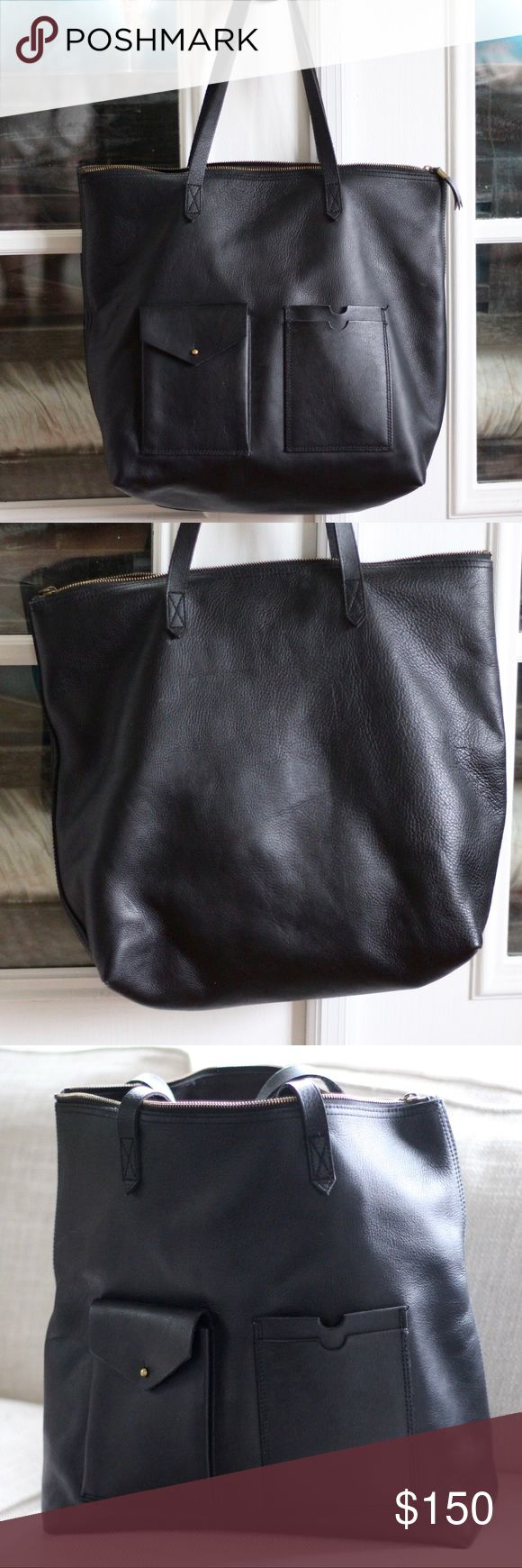 Madewell Zip Transport Tote with Pocket Barely carried. Leather. Height: 14.25. Length:17. Depth: 6.25. Handle drop 8.25. Madewell carryall in soft pebbled leather. Madewell Bags Totes