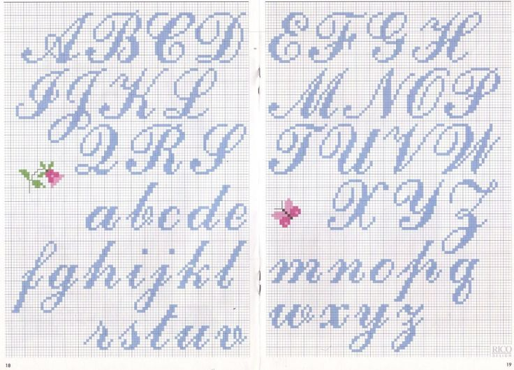 Knitting Cursive Letters : The best images about cross stitch patterns alphabet