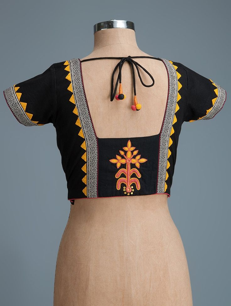 Buy Black Yellow Peach White Embroidery Detail Back Cotton Blouse Online at Jaypore.com