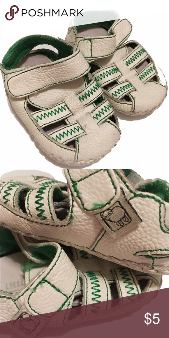 Little Blue Lamb shoes Brand: Little Blue Lamb. Size: no size tag, is comparable to a size 2 (infant/toddler). White leather with green stitching, gender neutral. Smoke free home. Little Blue Lamb Shoes Baby & Walker