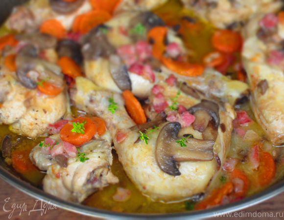 Курица с овощами и грибами